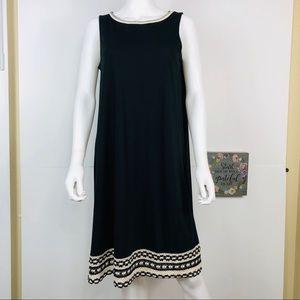 J. JILL CROCHET-TRIMMED KNIT SHIFT DRESS